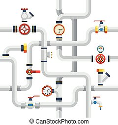 Pipes Concept Illustration - Pipes System Concept Pipes...