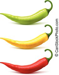 Chili Pepper Pods Set Realistic Shadow
