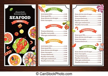 Seafood Restaurant Menu - Compact color menu for seafood...