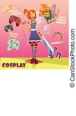 Cosplay Character Illustration - Cosplay character cartoon...