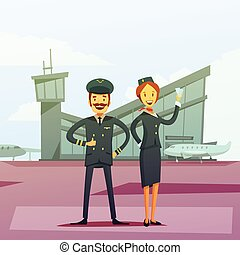 Pilot And Stewardess Illustration