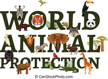 Wild Animal Protection Illustration - Poster with title...