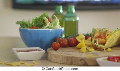 Beer, Tacos and TV - Pan of mexican style chicken tacos with...