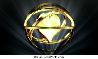 Golden Heart in Rotor Shine - background animation for home...