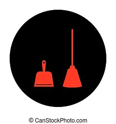 Dustpan vector icon. Scoop for cleaning garbage housework...
