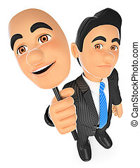 3D Businessman sad with a cheerful mask - 3d business people...