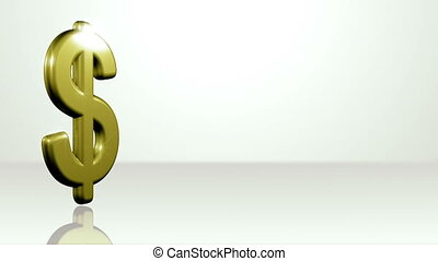 Iconic Dollar On White Stage - background animation for home...