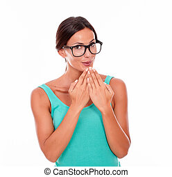 Mistaken caucasian woman with her hands to mouth - Mistaken...