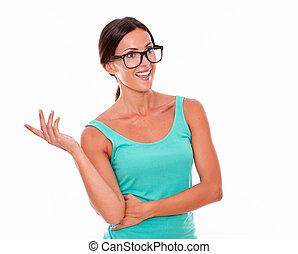 Smiling brunette woman looking away gesturing