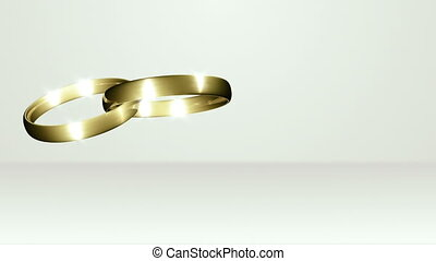 Two Wedding Rings Crossed On White Stage - background...