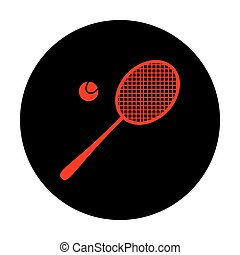 Tennis racquet icon. Red vector icon on black flat circle.