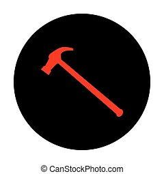 Hummer simple icon. Red vector icon on black flat circle.