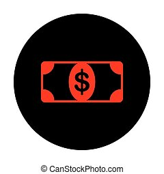 Bank Note dollar sign Red vector icon on black flat circle