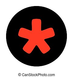 Asterisk star sign. Red vector icon on black flat circle.