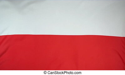 Slowmotion textile Flag Poland - Slowmotion of a real...