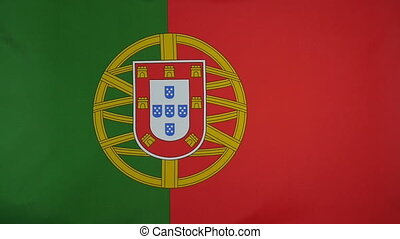 Slowmotion textile Flag of Portugal - Slowmotion of a real...