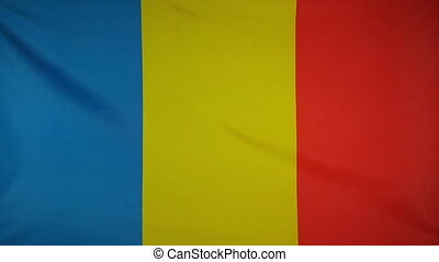 Slowmotion textile Flag Romania - Slowmotion of a real...