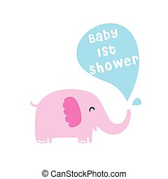 baby elephant 1st shower card