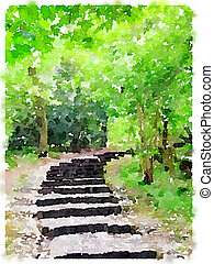 Watercolor painting of a path in the woods