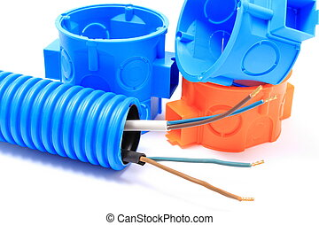Corrugated pipe with cable and electrical box - Corrugated...