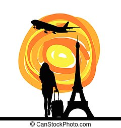 girl with tour eiffel silhouette illustration