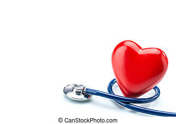 Red heart with stethoscope isolated on white background,...