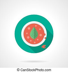 Tomato soup flat color design vector icon - Red tomato soup...