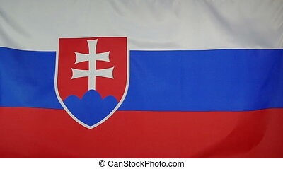 Slowmotion textile Flag Slovakia - Slowmotion of a real...