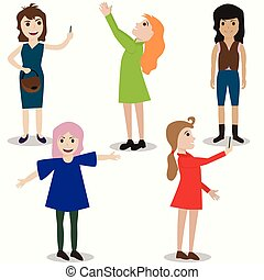 set of girls, different nationality, appearance, modern woman