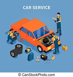 Car Service Work Process Isometric - Car service work...