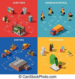 Garbage Recycling Isometric Concept Icons Set - Recycling...