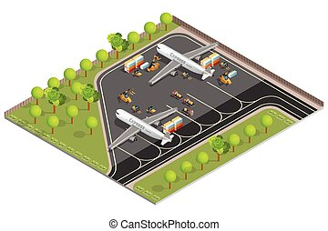 Air Cargo Transportation Composition - Isometric image of...