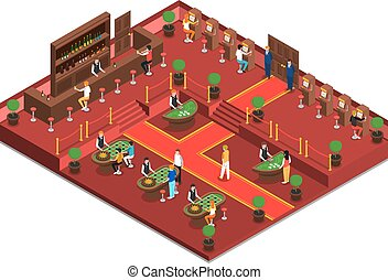 Casino Isometric Interior - Casino isometric interior with...