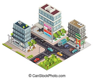 Shopping Center Buildings Complex Isometric Banner - City...