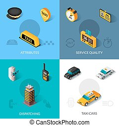 Taxi isometric 4 flat icons square - Taxi dispatching...