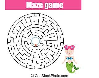 Maze game: fairytales theme - Maze children game: help the...