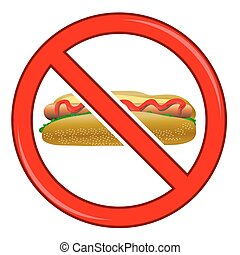 No Hot Dog Sign Isolated on White Background No Food Allowed...