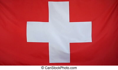Slowmotion textile Flag Switzerland - Slowmotion of a real...