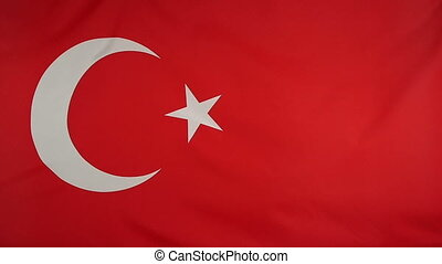 Slowmotion textile Flag of Turkey - Slowmotion of a real...