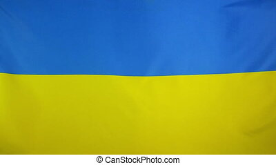 Slowmotion textile Flag of Ukraine - Slowmotion of a real...