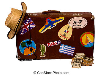 set for travel and suitcase - Vintage suitcase for travel...