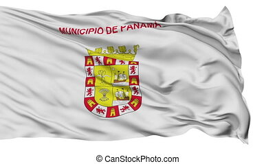 Panama City Isolated Waving Flag