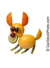 divertido, Saltar, perro, hecho, de, frutas, en, aislado,...