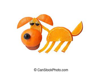 divertido, perro, hecho, de, jugoso, naranja, en, aislado,...