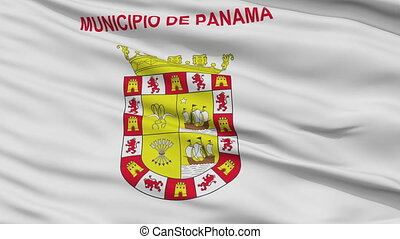 Panama City Close Up Waving Flag - Panama Capital City Flag...