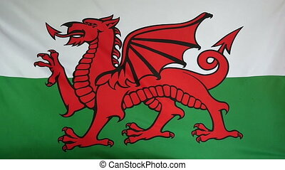 Slowmotion textile Flag of Wales - Slowmotion of a real...