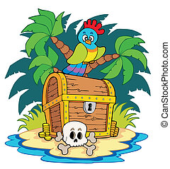 Pirate island with treasure chest - vector illustration