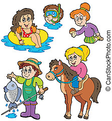 Summer kids activities collection - vector illustration.
