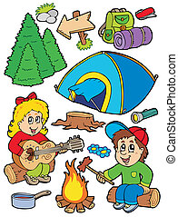 Holiday camping collection - vector illustration.