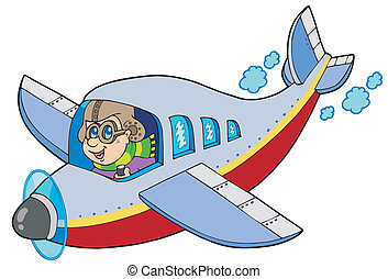 Cartoon aviator on white background - vector illustration.
